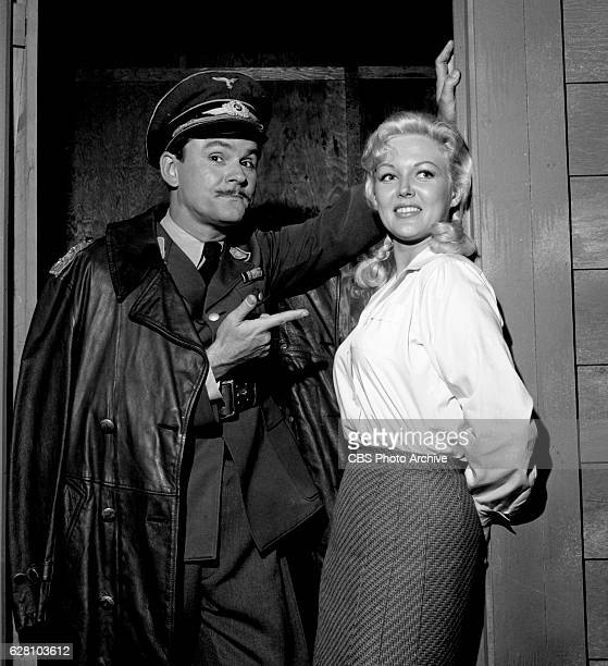 Hogan's Heroes episode Happy Birthday Adolf Pictured from left is Bob Crane disguised as German army Major Hoganborg and Cynthia Lynn Image dated...