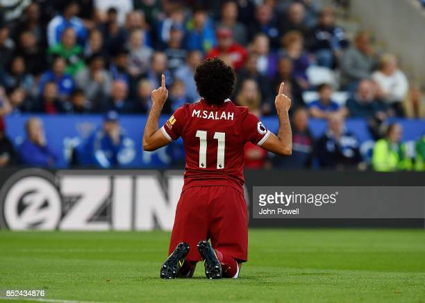 Hohamed Salah of Liverpool celebrates after scoring the opening goal during the Premier League match between Leicester City and Liverpool at The King...