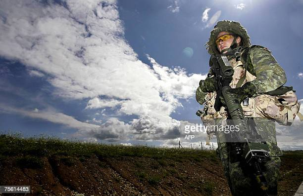 A Canadian female soldier takes part in a training exercise 24 July 2007 at the Joint Multinational Readiness Centre near the southern German town of...