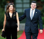 European Commission President Jose Manuel Barroso and his wife Margarida Sousa Uva arrive for a dinner with G8 leaders on the first official day of...