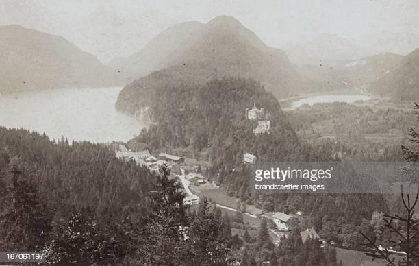 view of Schwansee and the Old Castle and the Alpsee 1882 Photograph by Ludwig Schradler / Füssen Photograph Hohenschwangau Ansicht mit Schwansee und...