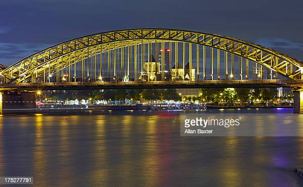 Hohenzollern bridge and skyline of Cologne
