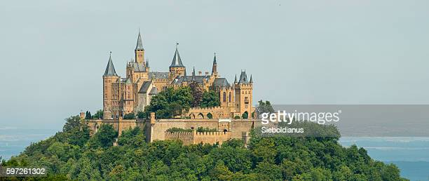 Hohenzollern castle atop Berg Hohenzollern in the Swabian Alps foothills.