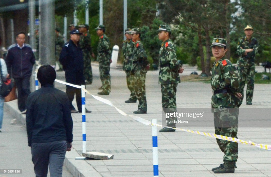 Hohhot China Armed police officers stand guard at a square in Hohhot the capital of China's Inner Mongolian Autonomous Region on May 31 2011 A series...