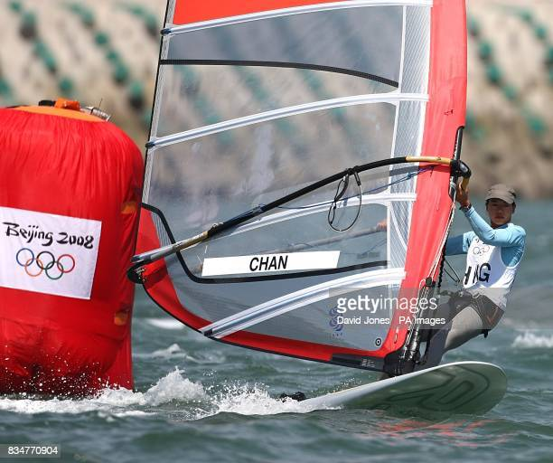Hoing Kong China's Wai Kei Chan sails in the final round of the Women's RSX Sailing Competition at the Olympic Games' Sailing Centre in Qingdao on...