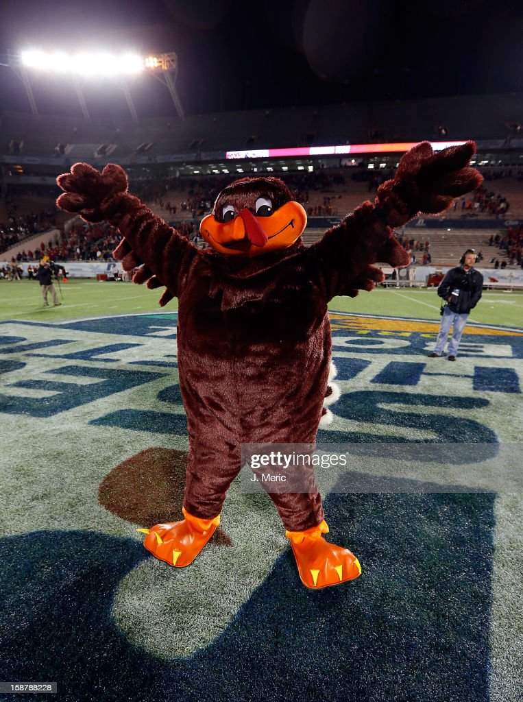 Hokie Bird, mascot of the Virginia Tech Hokies celebrates victory over the Rutgers Scarlet Knights during the Russell Athletic Bowl Game at the Florida Citrus Bowl on December 28, 2012 in Orlando, Florida.