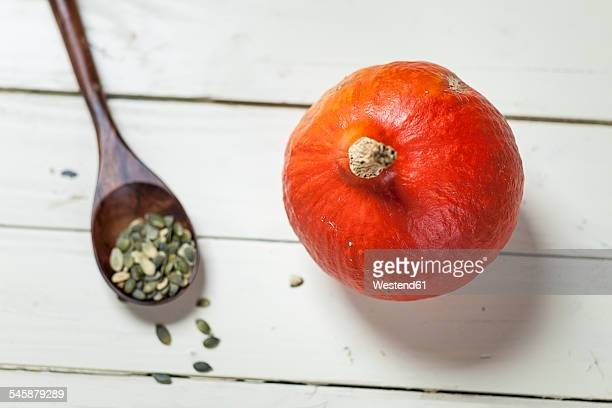 Hokkaido pumpkin and wooden spoon with pumpkin seeds on white wood