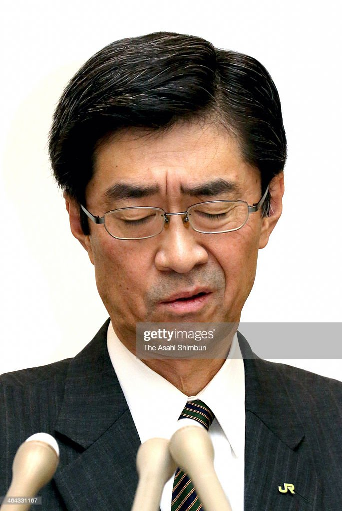 Hokkaido Railway Co. President Makoto Nojima looks on during a press conference on January 21, 2014 in Sapporo, Hokkaido, Japan. The company, known as JR Hokkaido, announced punitive measures against employees for a safety scandal involving accidents, falsified data and cover-ups by more than 70 percent of its sections in charge of maintaining the rail network. It admitted the inspection data falsifications were systemic and involved management and head office employees. It also said the data manipulation methods were customarily shared and handed down to those in charge. The punishments against 75 employees of JR Hokkaido and related companies included dismissals and pay cuts for executives and senior officials.