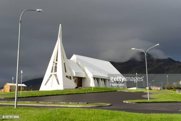 Holaneskirkja on a rainy day in Iceland