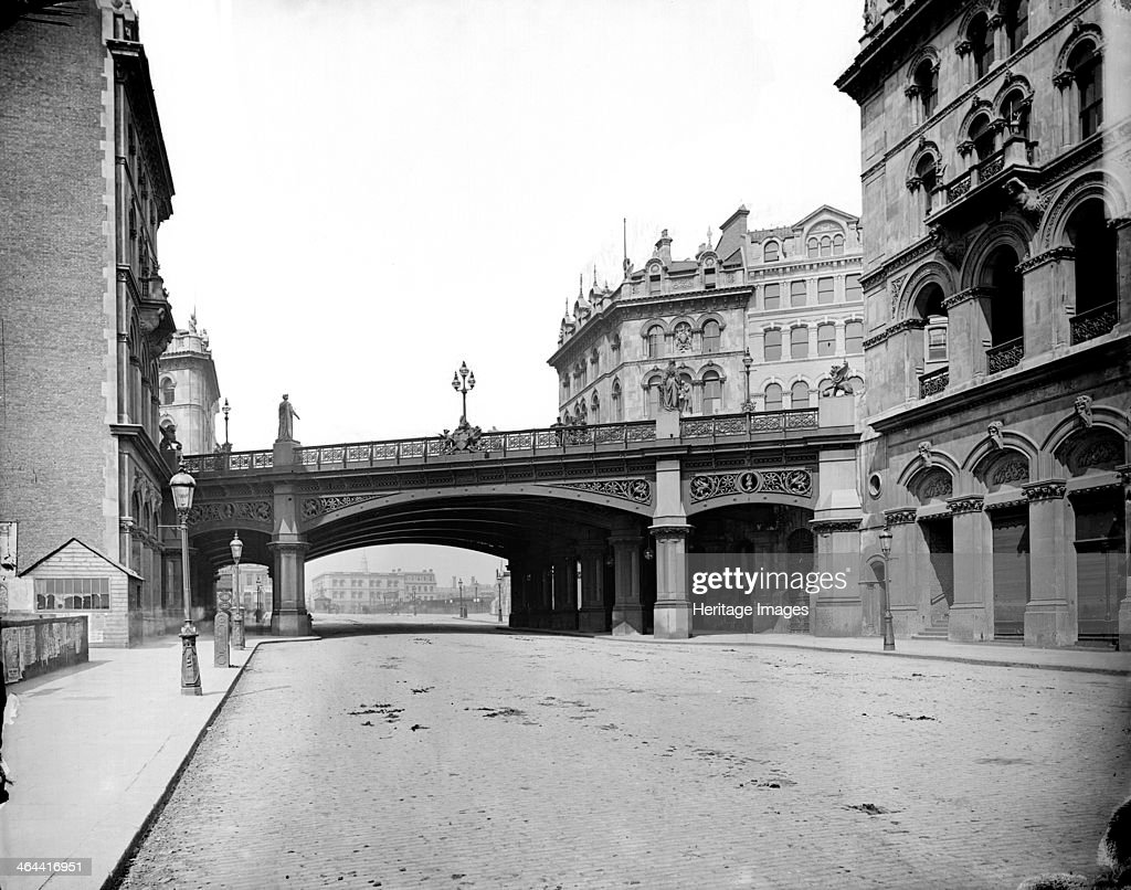 Holborn Viaduct City of London c18701900 A view looking north along Farringdon Street towards the bridge built in 1869 The viaduct was designed by...