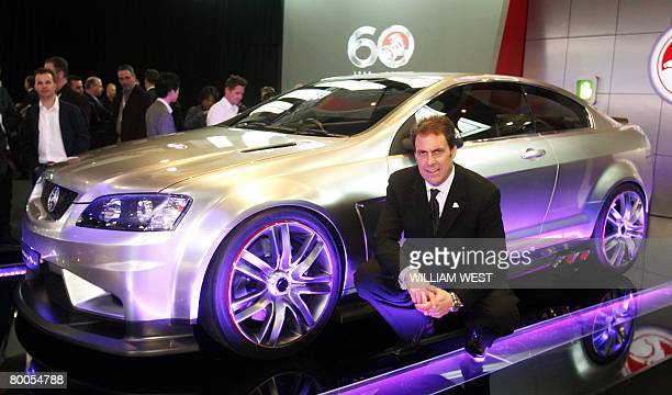 GM Holden Chairman and Managing Director Mark Reuss poses beside the company's new thoroughbred car called the Couple 60 to celebrate its diamond...