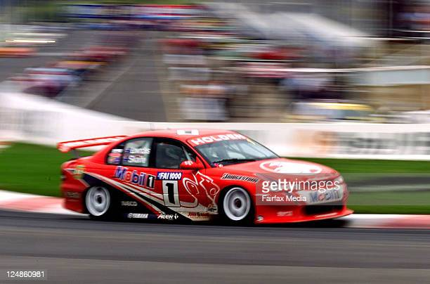 Holden driver Mark Skaife in his VT Commodore competing in the FAI 1000 at Mount Panorama in Bathurst on 17 November 2000 His co driver is Craig...