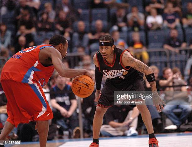 JR Holden of CSKA Moscow tries to outwit Allen Iverson of Philadelphia during the NBA Europe Live Tour presented by EA Sports on October 11 2006 at...