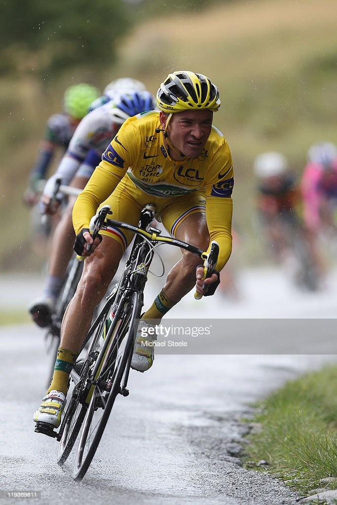 Holder of the yellow jersey <a gi-track='captionPersonalityLinkClicked' href=/galleries/search?phrase=Thomas+Voeckler&family=editorial&specificpeople=212948 ng-click='$event.stopPropagation()'>Thomas Voeckler</a> of France and team Europcar descends from the Col du Manse during Stage 16 of the 2011 Tour de France from Saint Paul Trois Chateaux to Gap on July 19, 2011 in Gap, France.