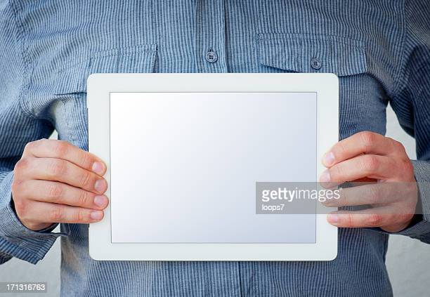 Holding a Tablet Computer - clipping path for screen included