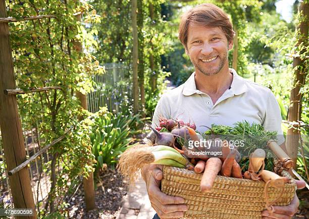 Holding an armful of organic goodness
