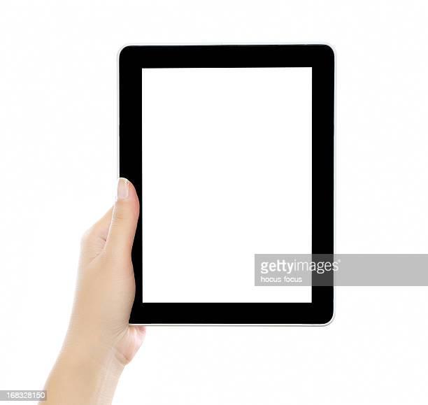 Sujeción y mostrando tableta digital