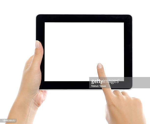 Holding and touching digital tablet