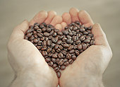 Holding coffee beans in hands