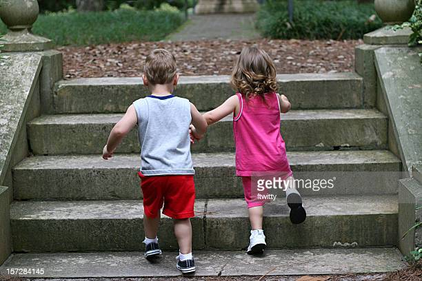 Holding Hands Climbing Stairs