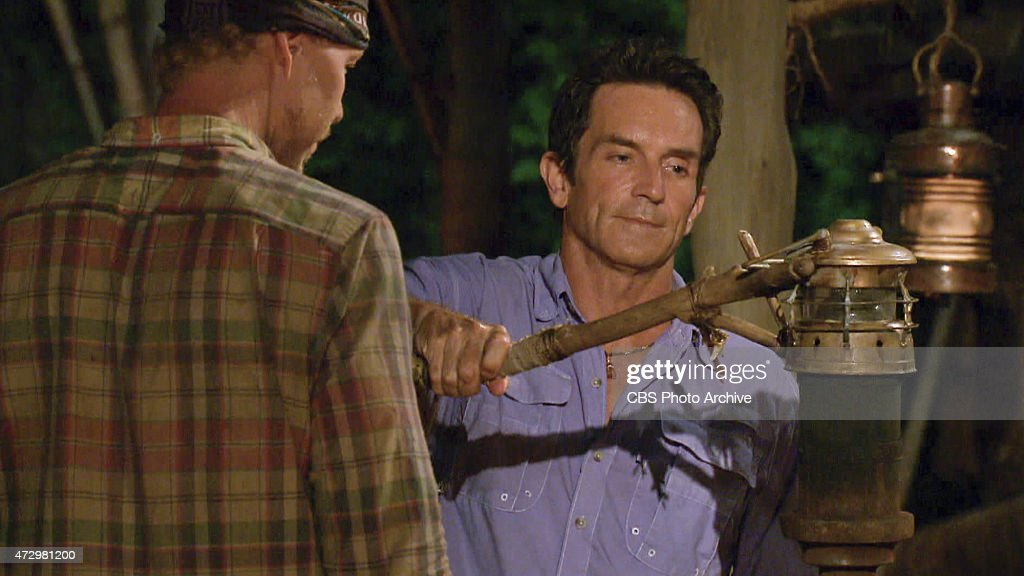 'Holding On For Dear Life' Jeff Probst extinguishes Tyler Fredrickson's torch at Tribal Council during the twelfth episode of SURVIVOR on the 30th...
