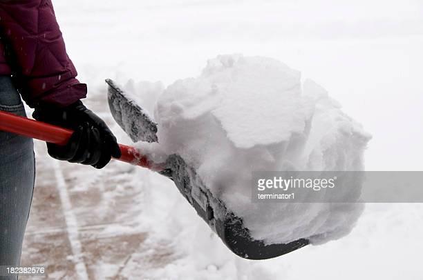 Hält Schneeschaufel