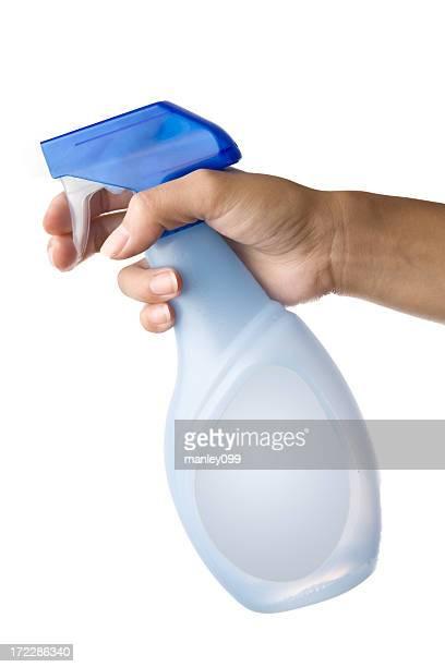 holding spray bottle