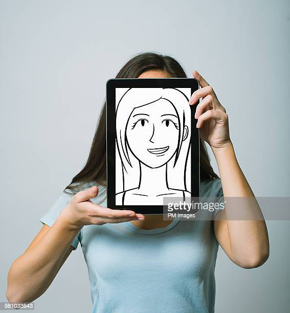 Holding tablet over face