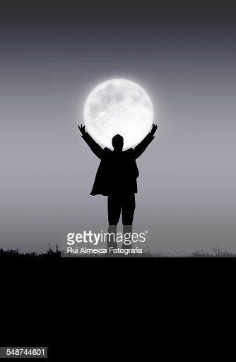 Holding the moon : Foto de stock