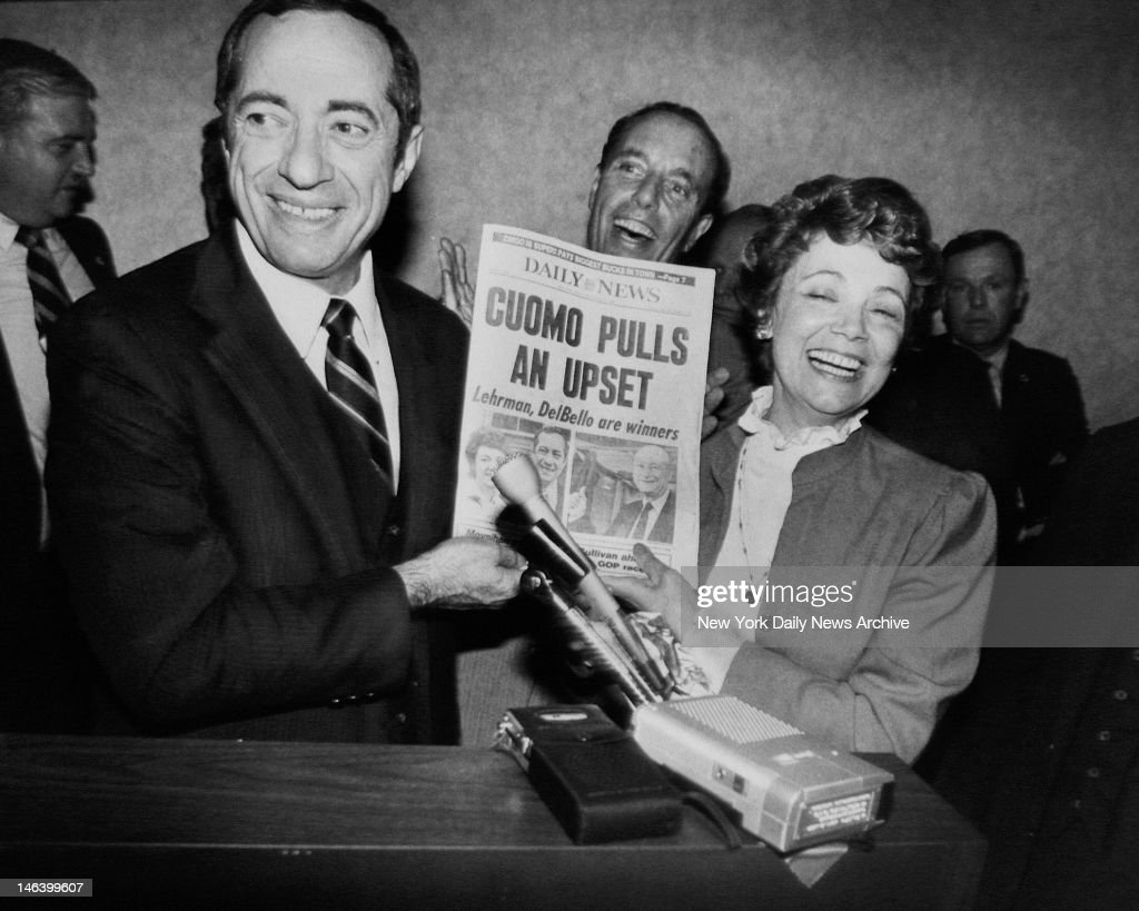 Holding up their favorite newspaper Mario Cuomo and his wife Matilda celebrate his upset victory over Mayor Koch in the Democratic gubernatorial...