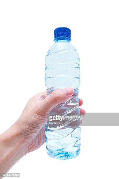 Holding Water bottle (Clipping Path!) isolated on white