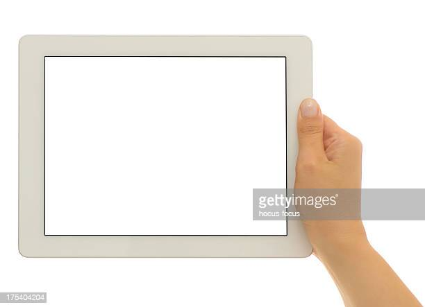 Holding white screen tablet pc