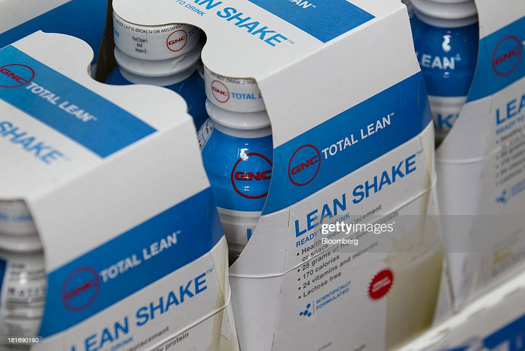 GNC Holdings Inc. dietary shakes are displayed for sale at a store in New York, U.S., on Thursday, Feb. 14, 2013. GNC Holdings Inc., a retailer of health and wellness products, reported revenue increases of 10.9% in the fourth quarter and 17.3% for the full year. Photographer: Jin Lee/Bloomberg via Getty Images