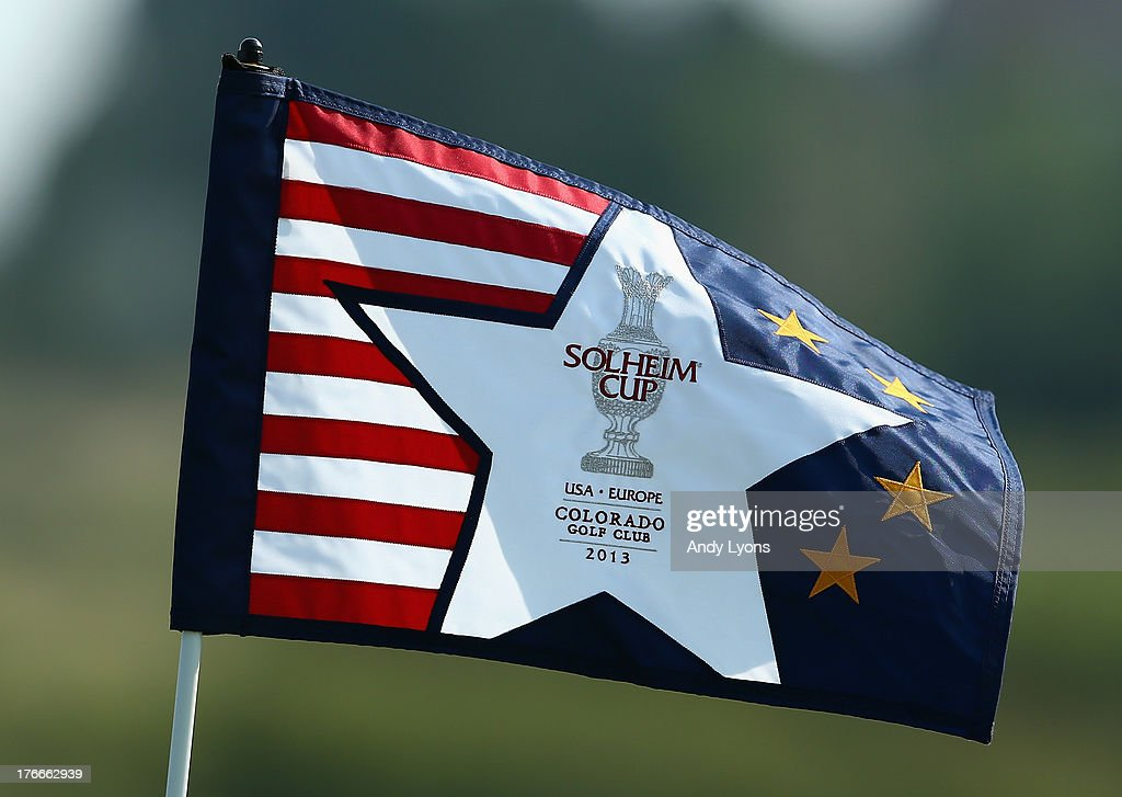 A hole flag blows in the wind during the afternoon fourball matches at 2013 Solheim Cup at the Colorada Golf Club on August 16, 2013 in Parker, Colorado.