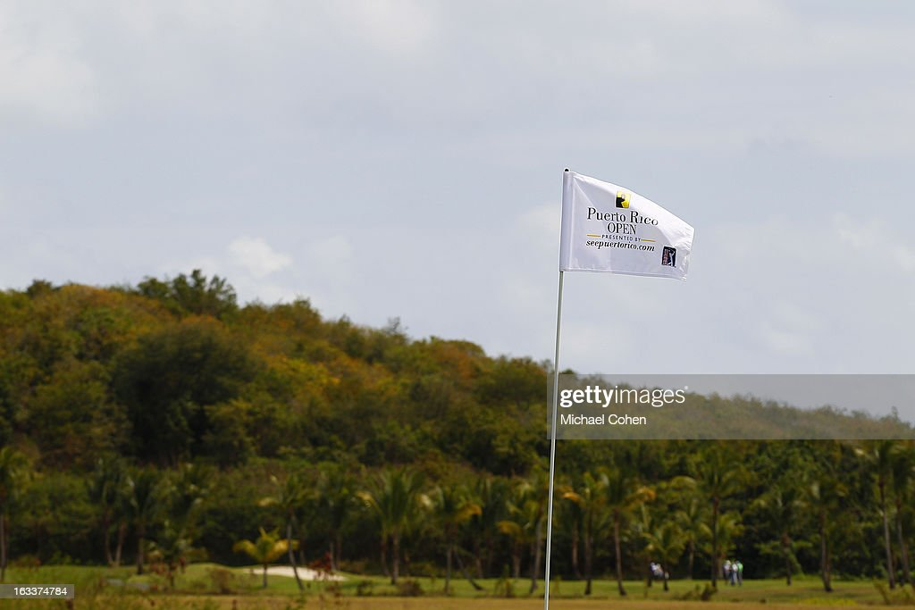 A hole flag flies on the second green during the second round of the Puerto Rico Open presented by seepuertorico.com held at Trump International Golf Club on March 8, 2013 in Rio Grande, Puerto Rico.