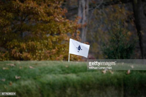A hole flag is seen during Curtis Cup practice at Quaker Ridge GC on November 22 2017 in Scarsdale New York