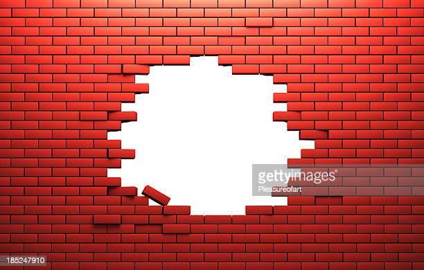 Trou dans un mur brik