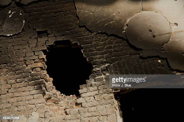 A hole in a wall on October 14 in Kunduz Afghanistan caused by a shell from the AC130 plane that struck the Medecins Sans Frontieres hospital in...