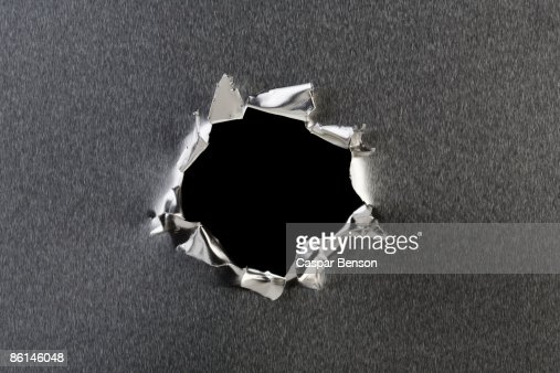 A hole in metal
