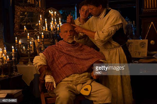 CROSSBONES 'A Hole In The Head' Pictured John Malkovich as Blackbeard Chris Perfetti as Tim Fletch Richard Coyle as Tom Lowe