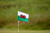 A hole marker flag flies in the wind during the PGA Welsh National at Tenby Golf Club on July 6 2016 in Tenby Wales