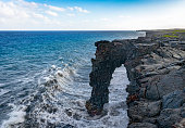 The Holei Arch at Volcanoes National Park on the Big Island of Hawaii.