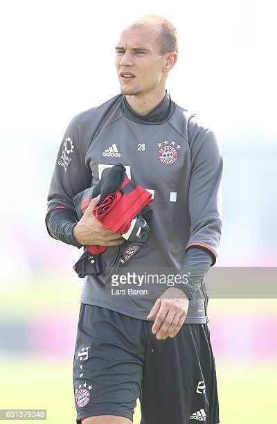Holger Badstuber is seen after a training session at day 8 of the Bayern Muenchen training camp at Aspire Academy on January 10 2017 in Doha Qatar