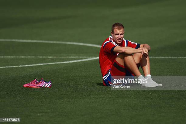 Holger Badstuber looks on during day 5 of the Bayern Muenchen training camp at ASPIRE Academy for Sports Excellence on January 13 2015 in Doha Qatar
