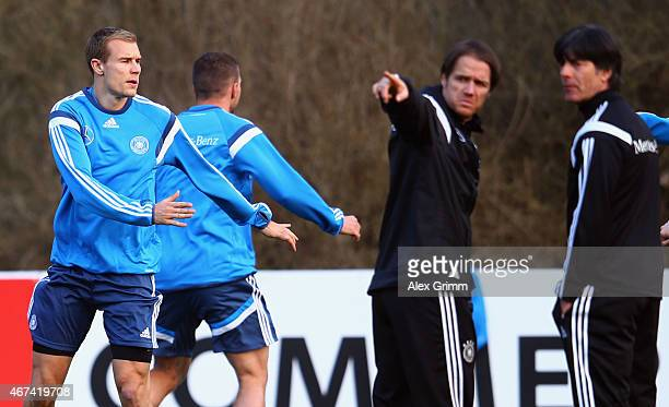 Holger Badstuber of Muenchen attends a Germany training session at Kleine Kampfbahn training ground on March 24 2015 in Frankfurt am Main Germany
