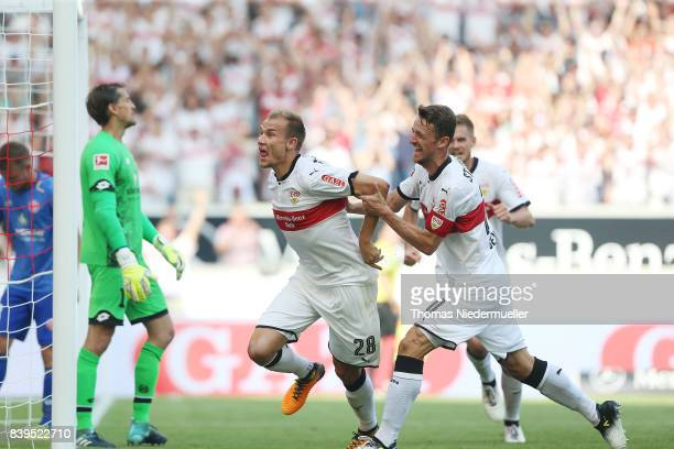 Holger Badstuber of Stuttgart celebrates his goal with Christian Gentner of Stuttgart during the Bundesliga match between VfB Stuttgart and 1 FSV...