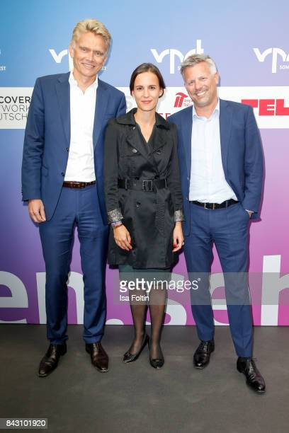 Holger Enfllin CEO Legal and Regulatory Sky Germany German news anchor Barbara Scherle and guest attend the Summer Reception Of VPRT Organization at...