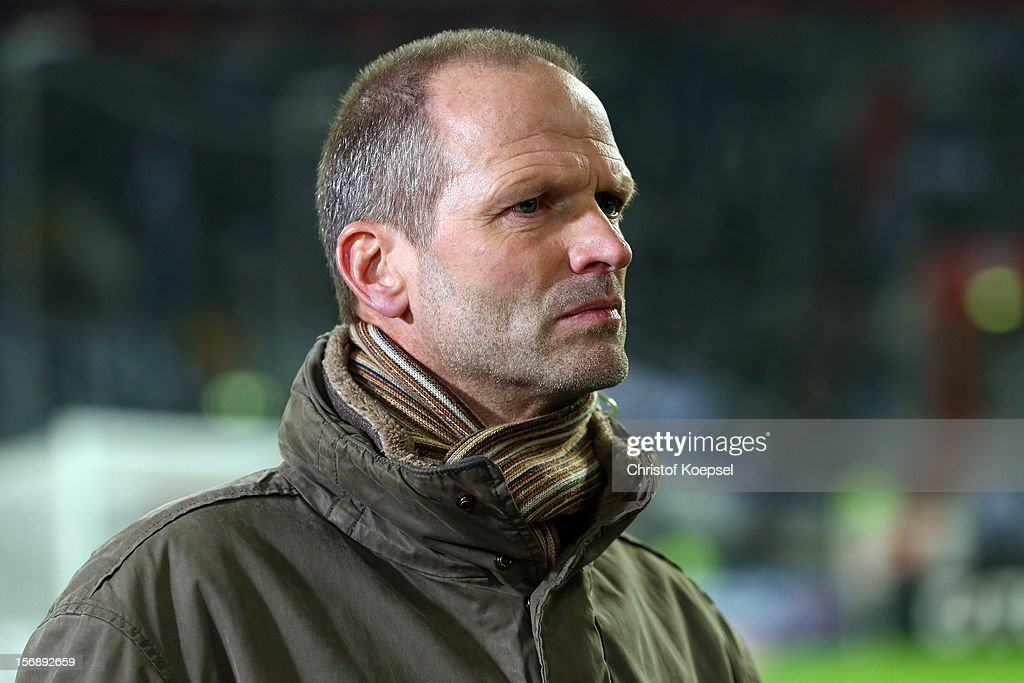 Holger Fach looks on prior to the Bundesliga match between Fortuna Duesseldorf and Hamburger SV at Esprit-Arena on November 23, 2012 in Duesseldorf, Germany.