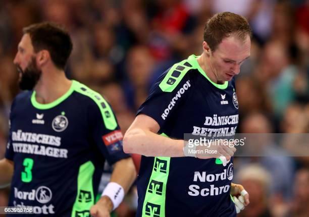 Holger Glandorf of Flensburg Handewitt reacts during the Velux EHF Champions League round of 16 second leg match between SG Flensburg Handewitt and...