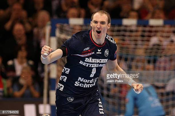 Holger Glandorf of Flensburg is celebrates during the Velux EHF Champions League round of 16 second leg match between SG Flensburg Handewitt and...